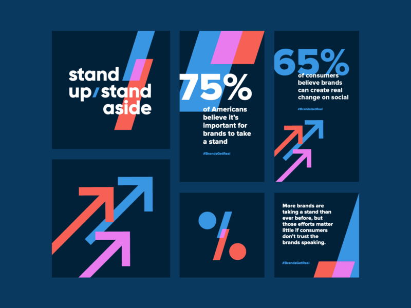 Brands Get Real Data Report Visual Identity visual identity identity visual system cover design system design typography layout social media geometric angles movement momentum arrows politics political data report data social templates social
