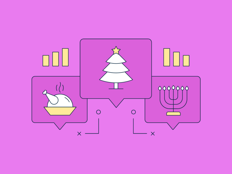 Holiday Conversations Driven by Social Data christmas tree tree turkey magenta pink line illustration fill line strategy thanksgiving christmas illustration social data social data talking chat conversation holidays holiday