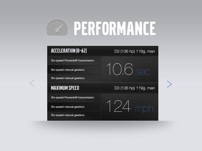 Performance automotive web design concept