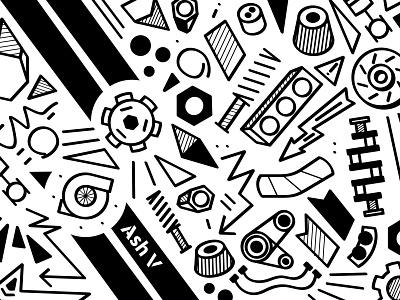 Ash V doodle art doodle art shapes car parts doodles branding design