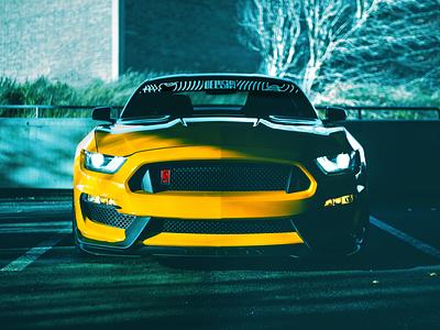 Delusion - Mustang mockup window sticker car collective automotive logo car banner logo branding design