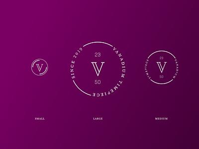 Vanadium Responsive Logo Design design branding responsive design monogram logos responsive branding watches metal brand identity brand design responsive logo
