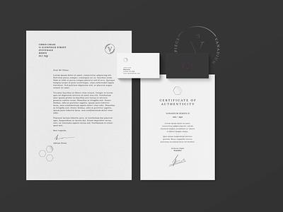 Vanadium Watches branding paperwork business card certificate responsive branding sophisticated classy entrepreneur watches brand identity logo branding design