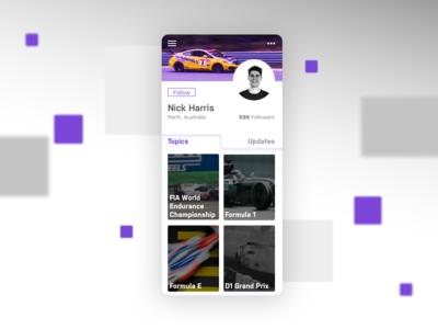 Daily UI 006-User Profile feedbackplease topics of interest fan profile motorsport user profile daily ui 006 daily ui ui ui  ux design design