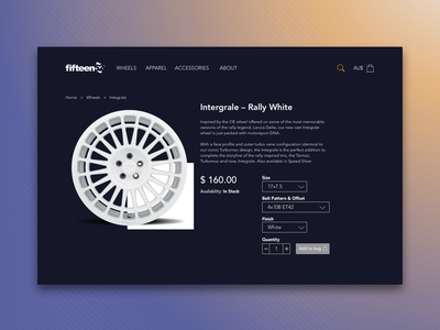 Daily UI 012–Ecommerce Item Page feedbackplease item page fifteen52 wheels ecommerce daily ui 012 dailyui ui  ux design branding design