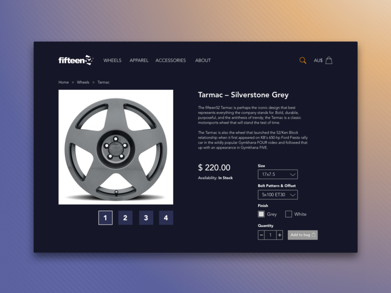 Daily UI 012 Ecommerce Item Page v2 ui item page daily ui 012 fifteen52 wheels ui  ux design daily ui feedbackplease clean design