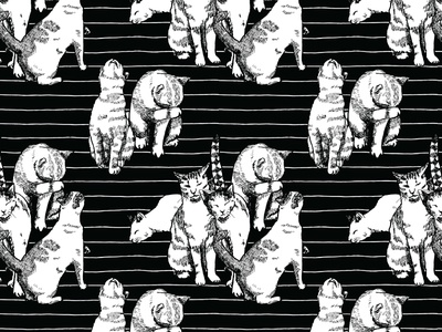 Cats Pattern cats black and white illustration