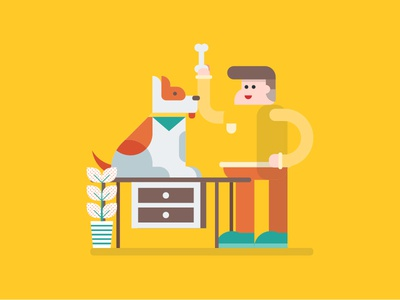 Pet Lover vector colour clean flat illustration flat yellow pet dog animal illustrations icon