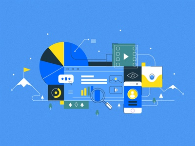 Visual Content Galore tech technology illustrations icon clean simple flat blue content marketing content visual