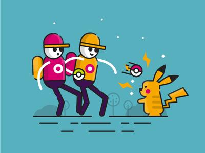 Outline Illustration style Pokemon GO minimalist vector pokemon trainer pokeball clean simple flat illustration pokemon go teal pikachu pokemon