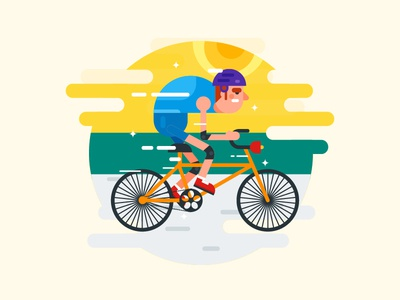 Cycler Flat Illustration healthy flat clean simple vector illustration sport bicycle cycle sunrise morning exercise
