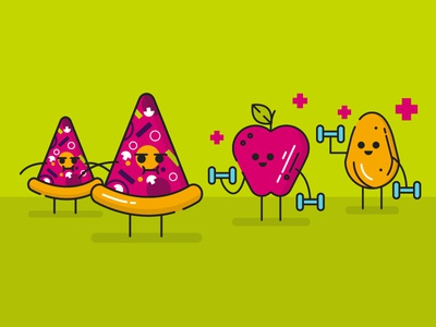Junk Food or Healthy food? simple illustration outline flat green vector icon apple junk food food healthy pizza