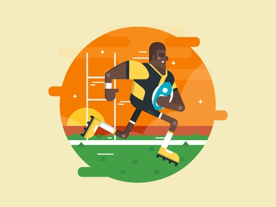 Rugby Player Illustration rugby clean healthy simple flat vector illustration exercise sport