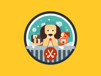 Beginner Pet Grooming Course Badge clean simple flat illustrator vector animal dog husky blue grooming badge pet