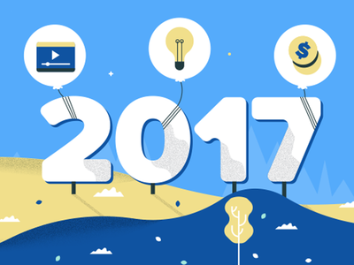 Content Marketing Trends in 2017 new year marketing flat vector illustration content marketing blue content 2017