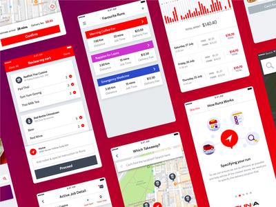 Runa App delivery website mobile app flat red gradient color icon interface app design uiux illustration