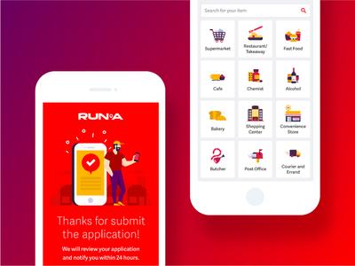 Runa App showcase mobile mobile app uiux red popular interface illustration icon gradient color app design