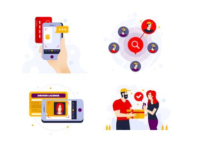 Runa App set of illustration flat design set startup delivery icon gradient illustration flat color mobile app