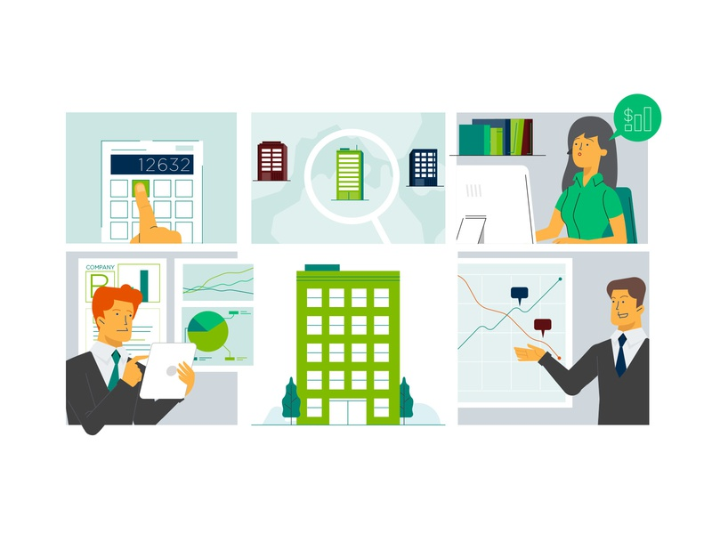 OpenInvest - Explainer Video outline invest finance character design character green color simple clean icon vector flat illustration