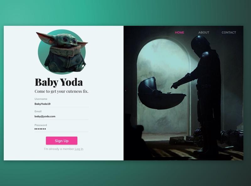 Baby Yoda Sign In dailyui baby yoda ui design visual design