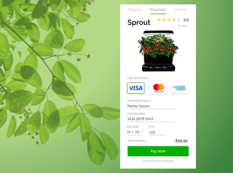Hydroponic Product Credit Card Checkout dailyui 002 ui ux ui design visual design credit card checkout dailyui gardening uidesign