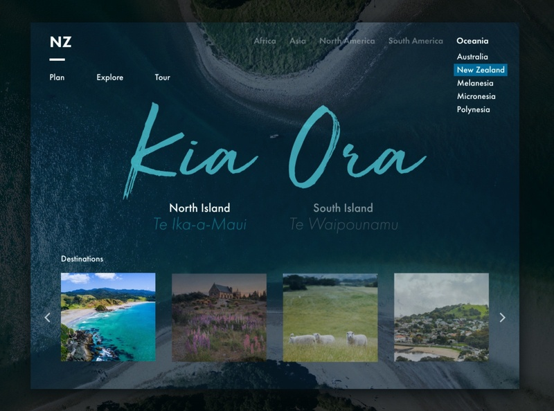 NZ Travel Landing Page ipad ui  ux maori travel new zealand visual design daily ui challenge daily ui ui design