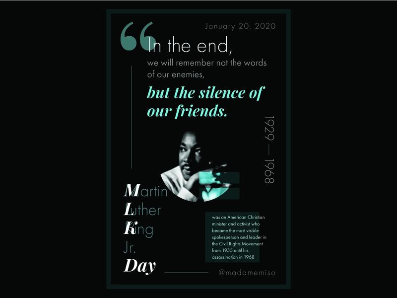 Martin Luther King, Jr. Day 2020 design for change civil rights typography visual design design martin luther king jr mlk