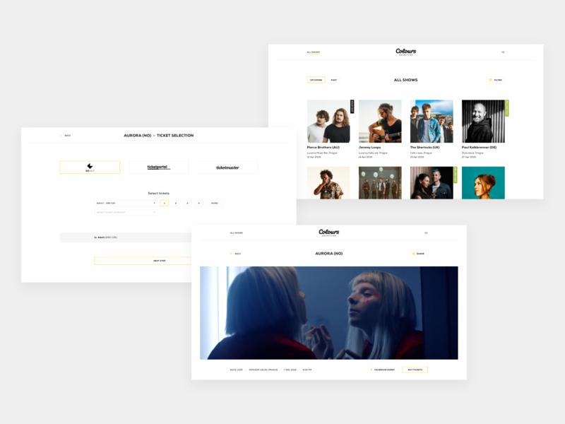 Colours Selection grid layout payment booking shows music strvcom strv whitespace minimal web design webdesign website web