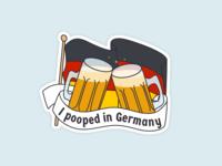 I Pooped In Germany travel art kitsch humor europe german illustration poop beer travel germany sticker