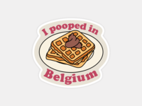 I Pooped In Belgium bell illustration sticker poop breakfast kitsch humor europe travel belgian waffles waffle belgium