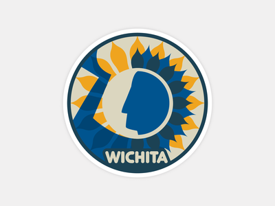 Wichita Sticker keeper of the plains native american art native american symmetry art hometown design illustration stickerapp sculpture sunflower kansas logo place branding wichita sticker