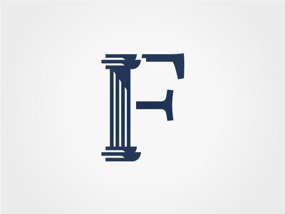 The Forum logo blitz blitz typography typographic f logo architectural architecture column roman forum