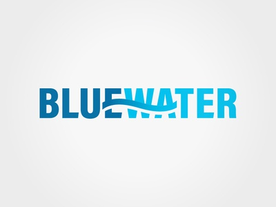 BlueWater Solutions Group logo negative space engineering blue wave typographic typography logo water