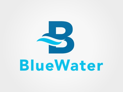 BlueWater Solutions Group logo wave water typography typographic negative space logo engineering blue