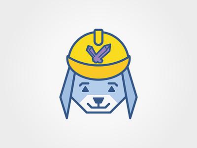 Dog logo rockhound yellow blue fun children kids geometry geometric logo dog