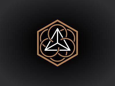 """Mystic"" 3 dimensional line logo black white gold logo design logo line 3 dimensional 3d mystic"