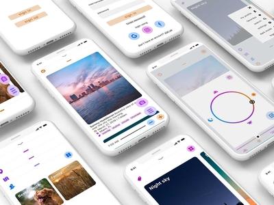Skygram (light mode) photography app photography sunset sky iphone mobile app design mobile app mobile application photo app photo interface ux ui work in progress wip