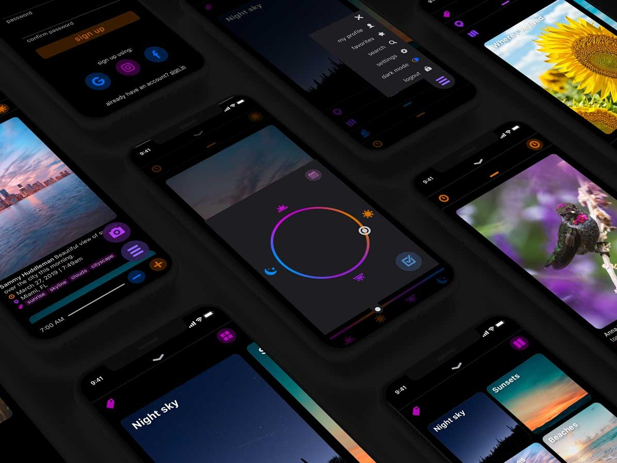 Skygram (dark mode) work in progress wip ui ux sunset sky photography app photography photo app photo mobile app design mobile app mobile iphone interface application