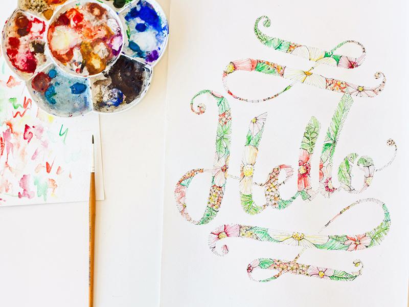 Hello! hi world lettering typography type floral illustration