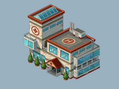 hospital building isometric hospital
