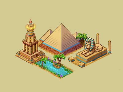 Egypt egypt building cartoon photochop isometric house