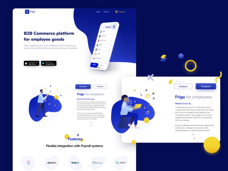 Frigo  Landing Page e-commerce design web design ui  ux
