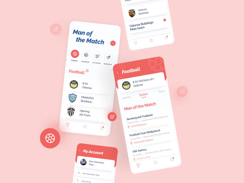 Man of the Match Sports App sports design branding ios clean ui flatdesign sketch ui  ux appdesign