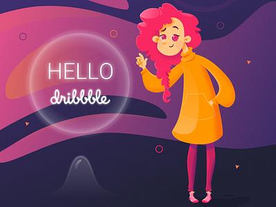 Hello dribbble vector hellodribbble debut shot debutshot design illustration