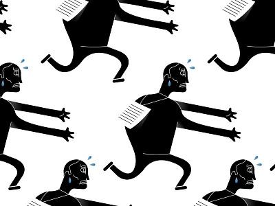 Illustration for Press Magazine detail black and white editorial illustration