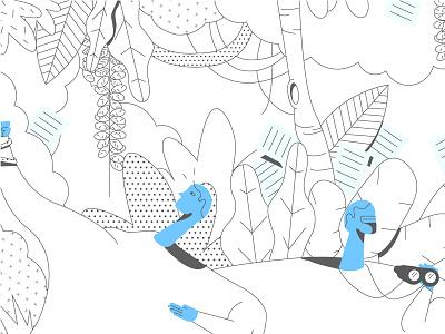 Bureaucracy jungle line blue editorial illustration