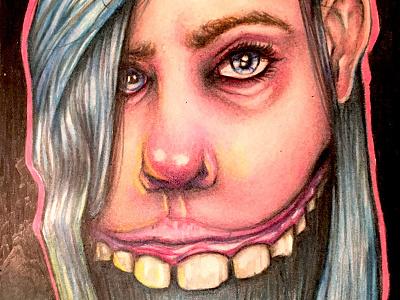 """""""Teeth"""" teeth coloredpencil prismacolor moleskine sketchbook"""
