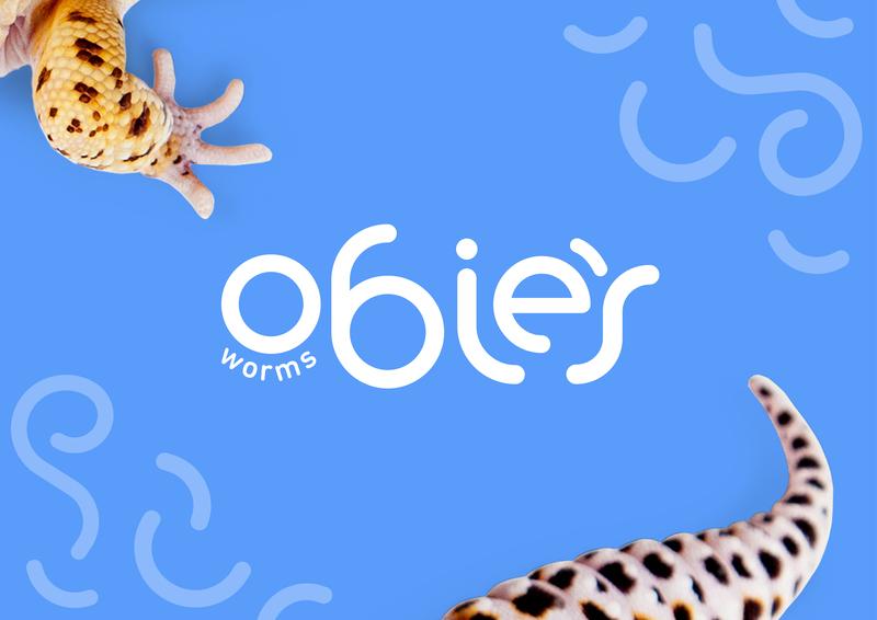 Obie's Worms Logo Design reptiles lizard gecko wordmarks wordmark type pet design pet food logo branding