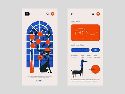 Pet App illustration art illustration mobile app design mobile ui design mobile uiux mobile ui mobile design mobile app mobile colour palette typography ui ux web
