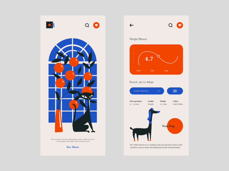 Pet App illustration art illustration mobile app design mobile ui design mobile uiux mobile ui mobile design mobile app mobile colour palette typography ui ux web